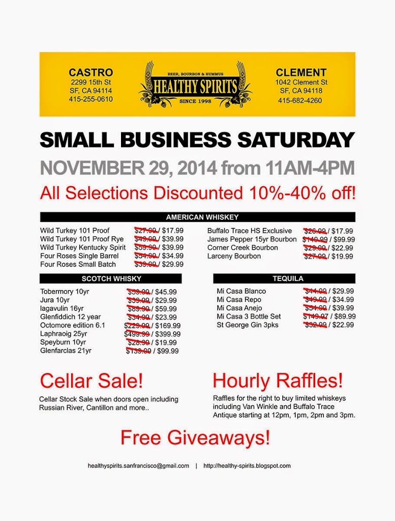 small business saturday heavily discounted items and raffle details